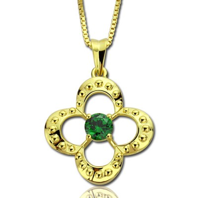 Clover Lucky Charm Personalised Necklace with Birthstone 18ct Gold Plated  - AMAZINGNECKLACE.COM