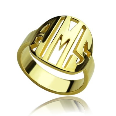 Personalised Block Circle Monogram Ring 18ct Gold Plated - AMAZINGNECKLACE.COM