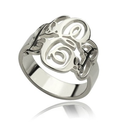 Personalised Fancy Monogram Ring Sterling Silver - AMAZINGNECKLACE.COM