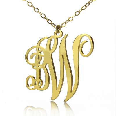 Personailzed Vine Font 2 Initial Monogram Personalised Necklace 18ct Gold Plated - AMAZINGNECKLACE.COM