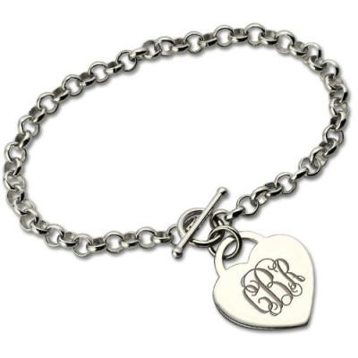 Personalised Monogram Charm Bracelet For Her Silver - AMAZINGNECKLACE.COM