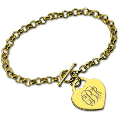 Heart Monogram Initial Charm Personalised Bracelets In 18ct Gold Plated - AMAZINGNECKLACE.COM