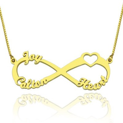Heart Infinity Personalised Necklace 3 Names 18ct Gold Plated - AMAZINGNECKLACE.COM