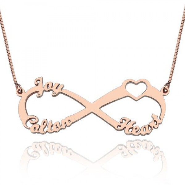 Heart Infinity Personalised Necklace 3 Names 18ct Rose Gold Plated - AMAZINGNECKLACE.COM