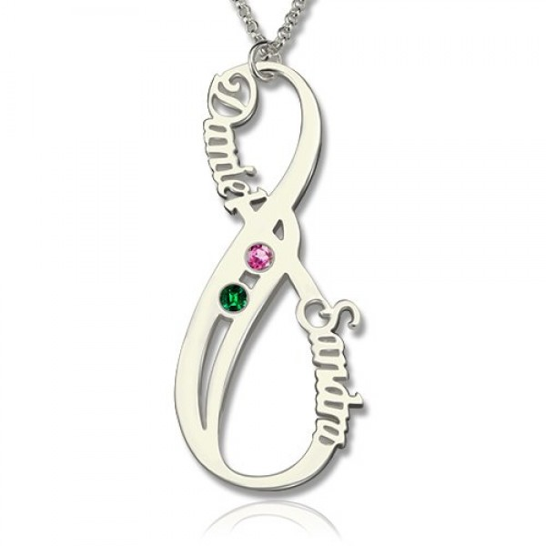 Birthstone Infinity Eternity Personalised Necklace Double Name  - AMAZINGNECKLACE.COM