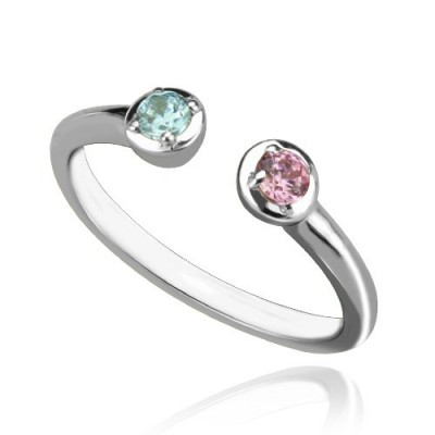 2 Stone Dual Birthstone Cuff Personalised Ring Sterling Silver  - AMAZINGNECKLACE.COM