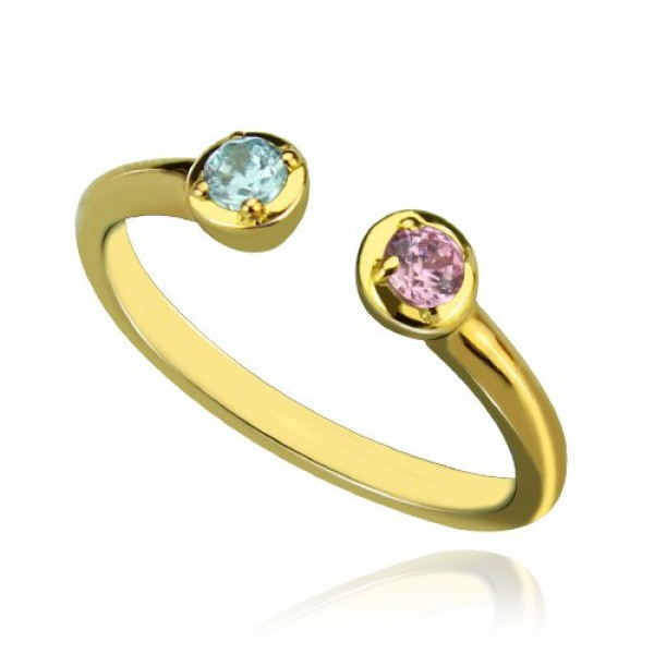 Dual Birthstone Personalised Ring 18ct Gold Plated  - AMAZINGNECKLACE.COM