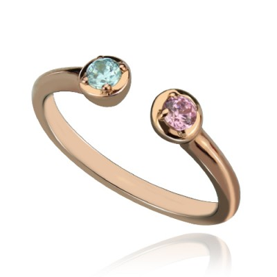 Dual Birthstone Personalised Ring 18ct Rose Gold Plated Silver  - AMAZINGNECKLACE.COM