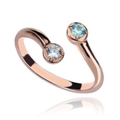 Dual Drops Birthstone Personalised Ring 18ct Rose Gold Plated  - AMAZINGNECKLACE.COM