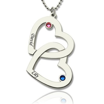 Double Heart Personalised Necklace with Name  Birthstones Sterling Silver  - AMAZINGNECKLACE.COM