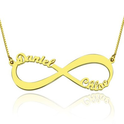 18ct Gold Plated Infinity Personalised Necklace Double Name - AMAZINGNECKLACE.COM