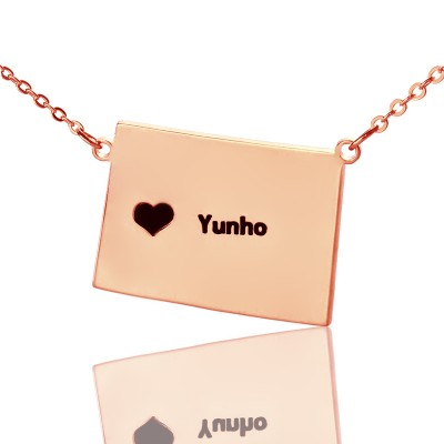 Wyoming State Shaped Map Personalised Necklaces With Heart  Name Rose Gold - AMAZINGNECKLACE.COM