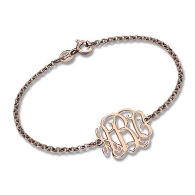 Rose Gold Plated Silver Monogram Personalised Bracelet - AMAZINGNECKLACE.COM
