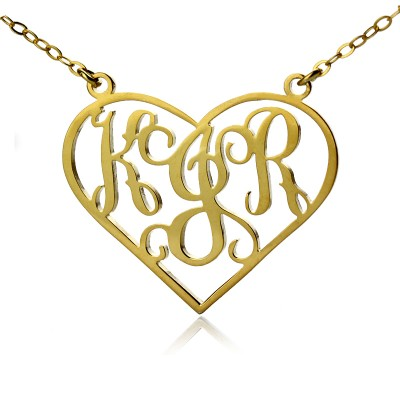 Solid Gold Initial Monogram Personalised Heart Necklace - AMAZINGNECKLACE.COM