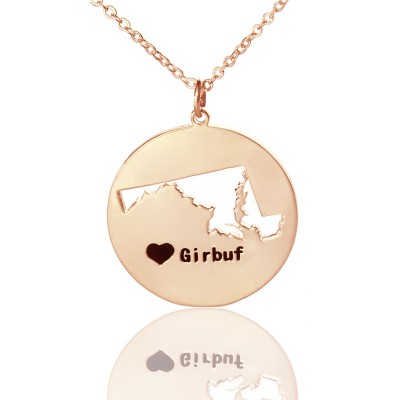 Custom Maryland Disc State Personalised Necklaces With Heart  Name Rose Gold - AMAZINGNECKLACE.COM