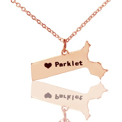 Massachusetts State Shaped Personalised Necklaces With Heart  Name Rose Gold - AMAZINGNECKLACE.COM