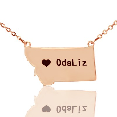 Custom Montana State Shaped Personalised Necklaces With Heart  Name Rose Gold - AMAZINGNECKLACE.COM