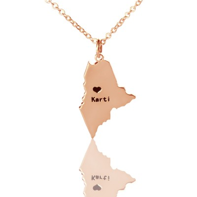 Custom Maine State Shaped Personalised Necklaces With Heart  Name Rose Gold - AMAZINGNECKLACE.COM