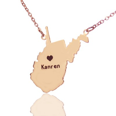 West Virginia State Shaped Personalised Necklaces With Heart  Name Rose Gold - AMAZINGNECKLACE.COM