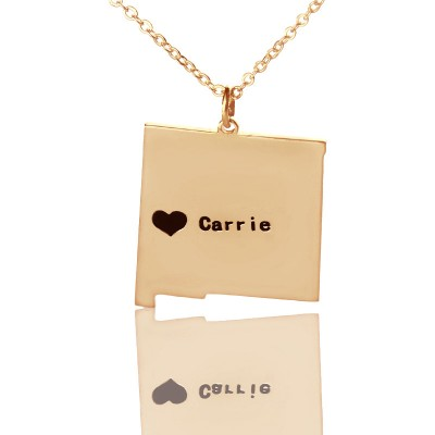 Custom New Mexico State Shaped Personalised Necklaces With Heart  Name Rose Gold - AMAZINGNECKLACE.COM