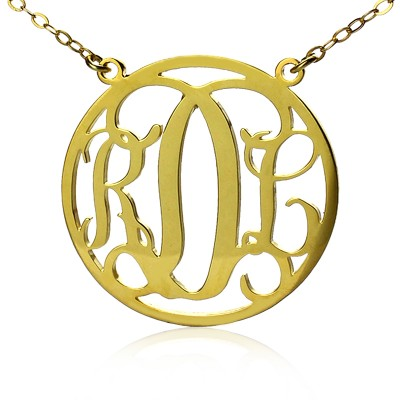 Circle 18ct Solid Gold Initial Monogram Name Personalised Necklace - AMAZINGNECKLACE.COM