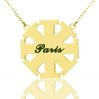 Customised Cross Personalised Necklace with Name 18ct Gold Plated 925 Silver - AMAZINGNECKLACE.COM
