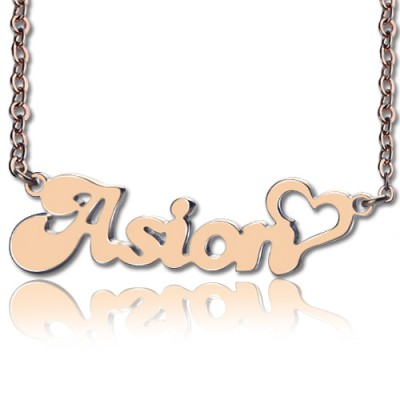 Personalised BANANA Font Heart Shape Name Necklace 18ct Rose Gold Plated - AMAZINGNECKLACE.COM