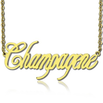 Solid Gold Personalised Champagne Font Name Necklace - AMAZINGNECKLACE.COM