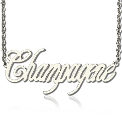 Solid White Gold Personalised Champagne Font Name Necklace - AMAZINGNECKLACE.COM