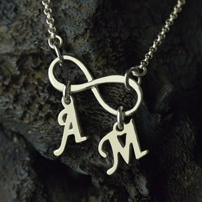 Personalised Infinity Necklace Double Initials Sterling Silver - AMAZINGNECKLACE.COM