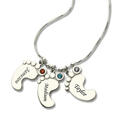 Baby Feet Charm Personalised Necklace for Mom - AMAZINGNECKLACE.COM