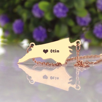 Personalised NC State USA Map Necklace With Heart  Name Rose Gold - AMAZINGNECKLACE.COM