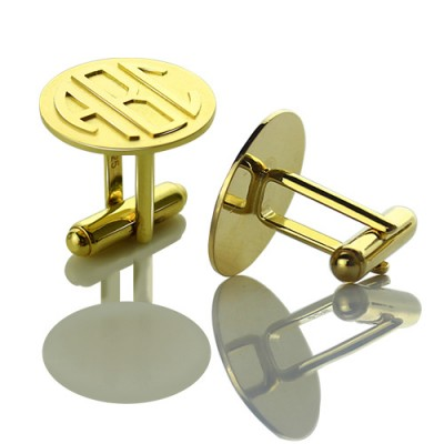 Cool Mens Cufflinks with Monogram Initial 18ct Gold Plated - AMAZINGNECKLACE.COM