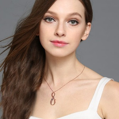 Vertical Infinity Sign Personalised Necklace with Birthstones 18ct Rose Gold Plated  - AMAZINGNECKLACE.COM