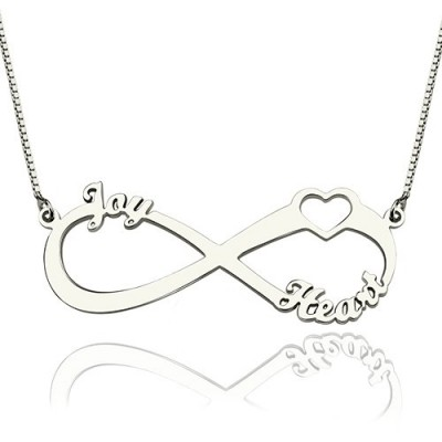 Heart Infinity Personalised Necklace 3 Names Sterling Silver - AMAZINGNECKLACE.COM