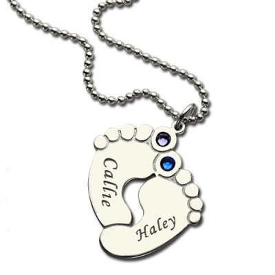 Personalzied Baby Feet Name Personalised Necklace with Birthstone Silver  - AMAZINGNECKLACE.COM