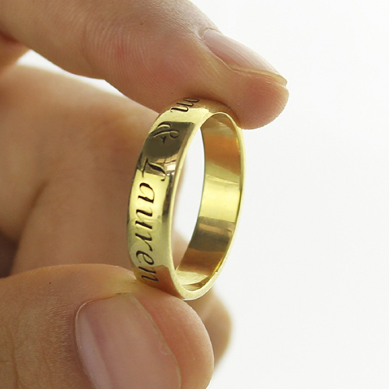 engraved promise name personalised ring 18ct gold plated. Black Bedroom Furniture Sets. Home Design Ideas