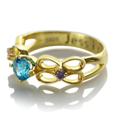 Birthstone Infinity Promise Personalised Ring With Name 18ct Gold Plated  - AMAZINGNECKLACE.COM