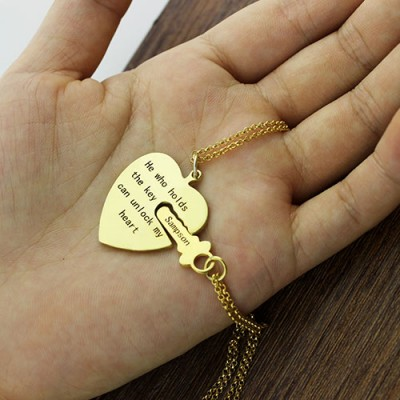 He Who Holds the Key Couple Personalised Necklaces Set 18ct Gold Plated - AMAZINGNECKLACE.COM