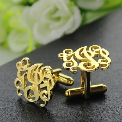 Monogrammed Cuff links Cut Out Initials 18ct Gold Plated - AMAZINGNECKLACE.COM