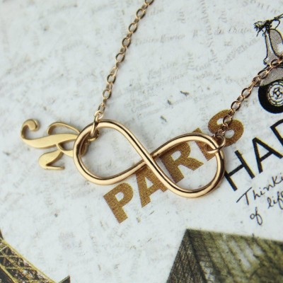 Rose Gold Plated Infinity Initial Personalised Necklace - AMAZINGNECKLACE.COM