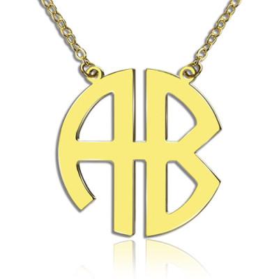 Two Initial Block Monogram Pendant 18ct Gold Plated - AMAZINGNECKLACE.COM