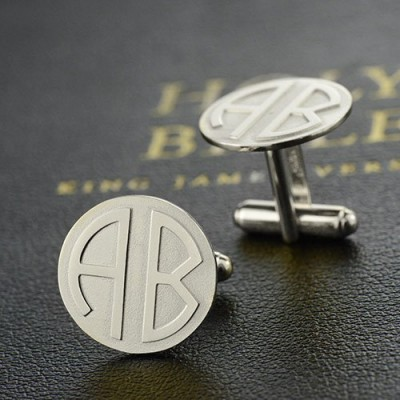 Cufflinks for Men Block Monogrammed Sterling Silver - AMAZINGNECKLACE.COM