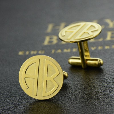Cufflinks for Men with Block Monogram 18ct Gold Plated - AMAZINGNECKLACE.COM