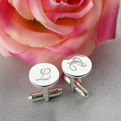 Cool Initial Cuff links Sterling Silver - AMAZINGNECKLACE.COM