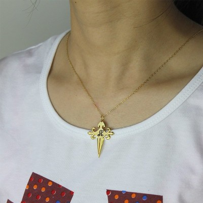 Gold Plated 925 Silver  St James Cross Initial Personalised Necklace - AMAZINGNECKLACE.COM