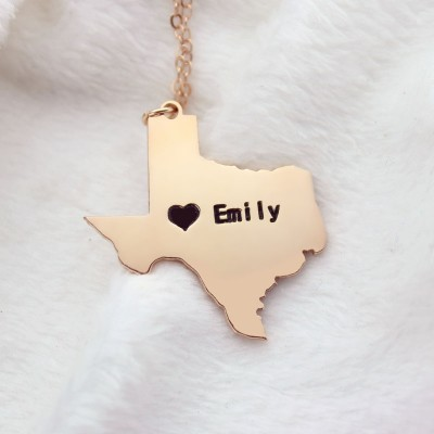 Texas State USA Map Personalised Necklace With Heart Name Rose Gold -  AMAZINGNECKLACE COM
