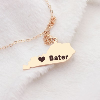 Custom Kentucky State Shaped Personalised Necklaces With Heart  Name Rose Gold - AMAZINGNECKLACE.COM
