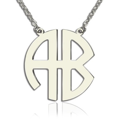 Two Initial Block Monogram Pendant Personalised Necklace Solid White Gold - AMAZINGNECKLACE.COM
