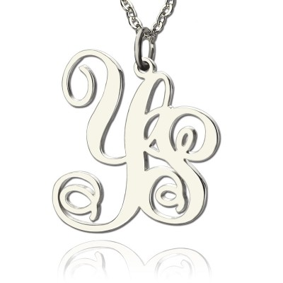 Personalised Solid White Gold Vine Font 2 Initial Monogram Necklace - AMAZINGNECKLACE.COM